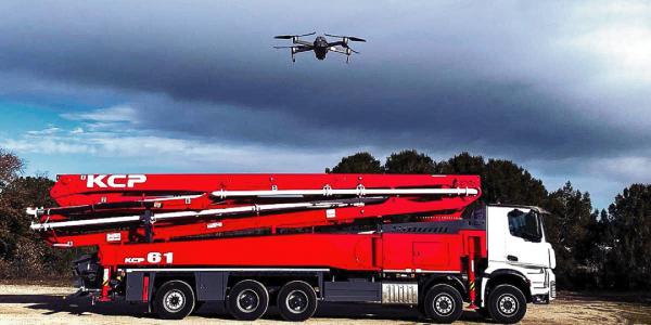 bombas de hormigón desde una nueva perspectiva grabadas con un dron